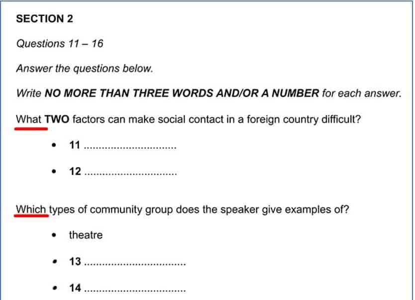 short answer questions ielts listening 4